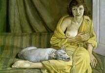 Девушка с белым псом