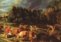 Пейзаж с коровами, 1636