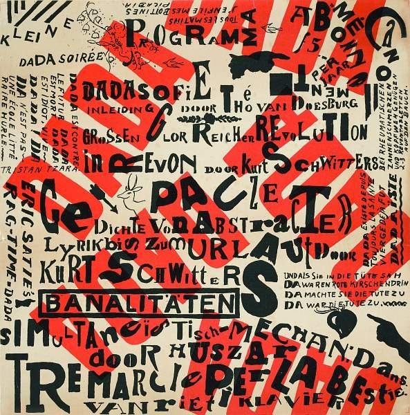 Плакат с объявлением вечера дадаистов, Тео ван Дусбург