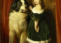 Принцесса Мария Аделаида Кембриджская с ньюфаундлендом Нельсоном,1839