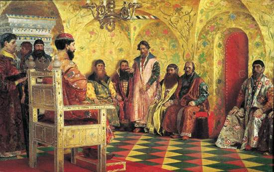 Tzar Mikhail Fedorovich Holding Council with the Boyars in His Royal Chamber