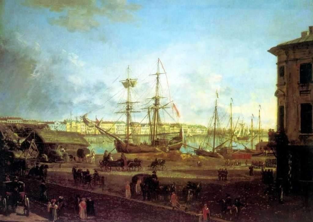 Вид Английской набережной со стороны Васильевского острова. 1810