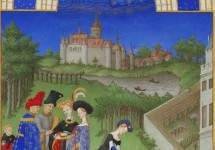 April: Courtly Figures in the Castle Grounds