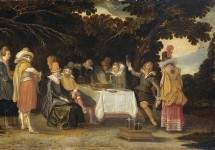 Elegant company dining in the open air