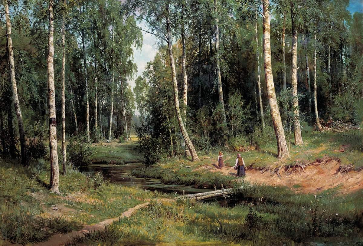 Ручей в березовом лесу, Иван Шишкин
