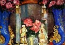Натюрморт с фарфоровыми фигурками и розами 1909