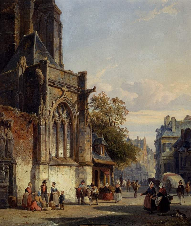Town Square Before A Church A Capriccio 1846