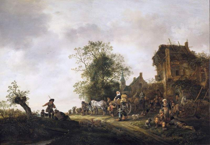 Travellers Outside an Inn 1645