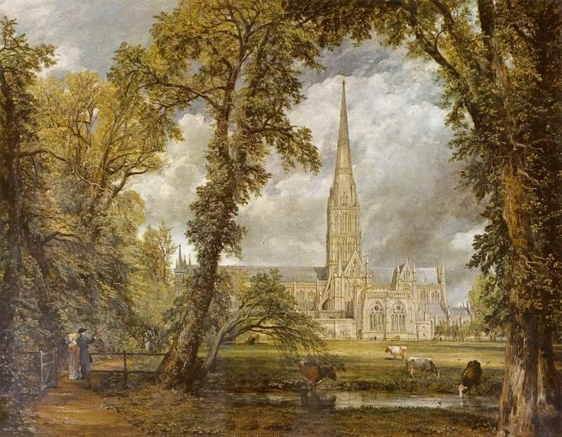 Вид на собор в Солсбери из епископского сада 1823