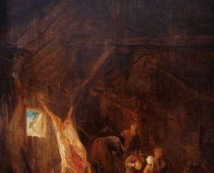 A Barn Interior with a Slaughtered Pig, Children Playing Beyond — Исаак ван Остаде