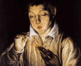 Мальчик раздувает уголек чтобы зажечь свечу — Эль Греко
