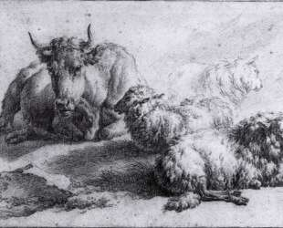 A Cow and Three Sheep — Адриан ван де Вельде