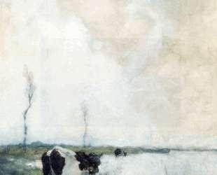 A Cow Standing By The Waterside In A Polder — Иохан Хендрик Вейсенбрух