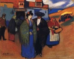 Испанская пара перед гостиницей — Пабло Пикассо