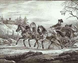 A Traveler in a Kibitka (Hooded Cart or Sledge) — Александр Орловский