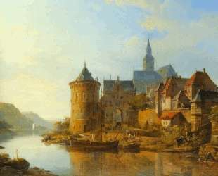 A View of a Town along the Rhine — Корнелис Спрингер