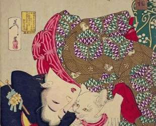 A young woman from Kansei period playing with her cat — Цукиока Ёситоси