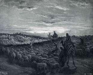 Авраам едет на Землю Ханаанскую — Гюстав Доре