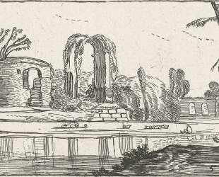 Ancient ruins by a river — Эсайас ван де Вельде