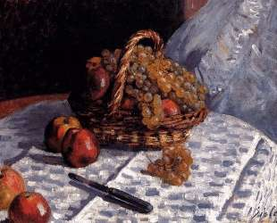Apples and Grapes in a Basket — Альфред Сислей