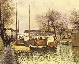 Barges on the Canal Saint Martin in Paris — Альфред Сислей