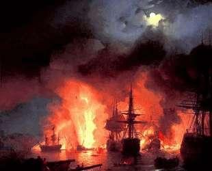 Чесменская битва ночью — Иван Айвазовский