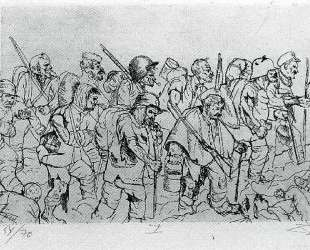Battle weary troops retreating — Battle of the Somme — Отто Дикс