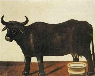 Черный бык на белом фоне — Нико Пиросмани