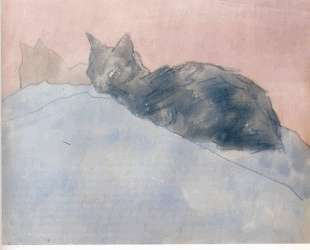 Black Cat on Blue and Pink — Гвен Джон