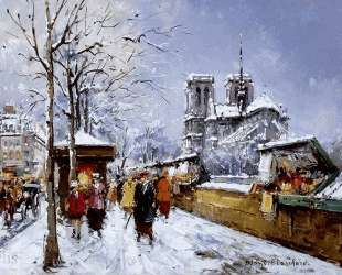 Booksellers Notre Dame, Winter — Антуан Бланшар