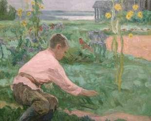 Мальчик на траве — Николай Богданов-Бельский