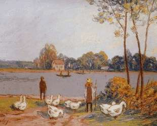 By the River Loing — Альфред Сислей