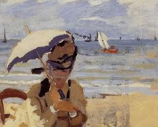 Камилла сидит на побережье вТрувиле — Клод Моне