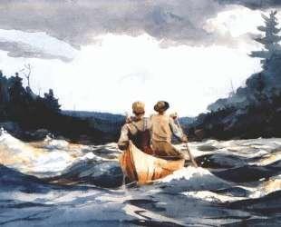 Canoe in the rapids — Уинслоу Хомер