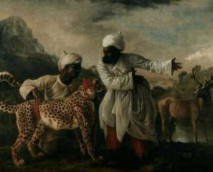 Cheetah with two Indian servants and a deer — Джордж Стаббс