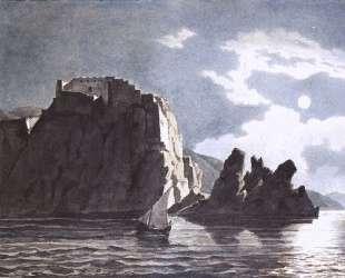 Скалы и луна ночью — Карл Брюллов