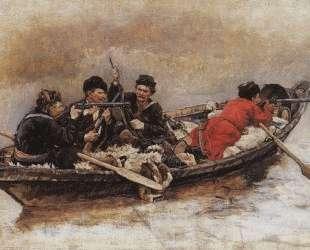 Казаки в лодке (Этюд для картины 'Покорение Сибири Ермаком') — Василий Суриков