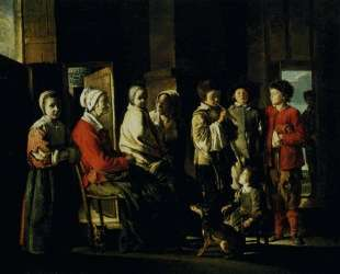 Country interior with the young player of flageolet — Братья Ленен