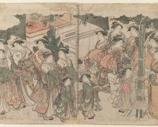 Courtesan`s Entourage at New Year`s Festival — Китагава Утамаро