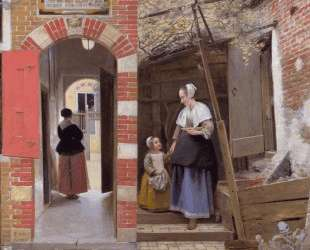 Courtyard of a house in Delft — Питер де Хох