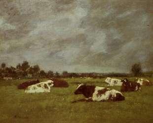 Cows in a Meadow, Morning Effect — Эжен Буден
