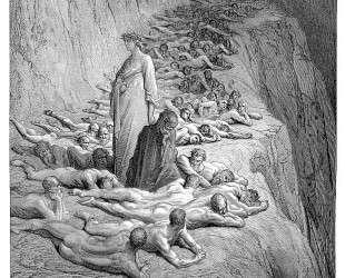 Данте и папа Адриан V — Гюстав Доре