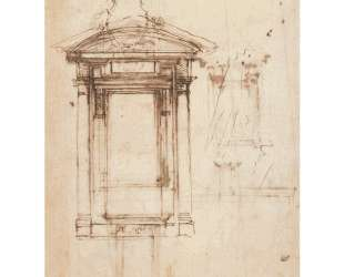 Design for Laurentian library doors and an external window — Микеланджело