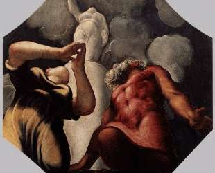 Deucalion and Pyrrha Praying before the Statue of the Goddess Themis — Тинторетто