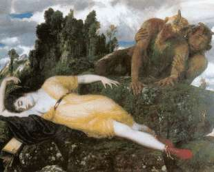 Diana sleeping with two fauns — Арнольд Бёклин