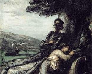 Дон Кихот и Санчо Панса отдыхают под деревом — Оноре Домье