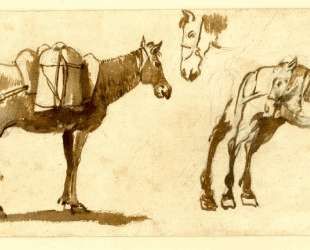 Drawing of mules, including one full length — Клод Лоррен