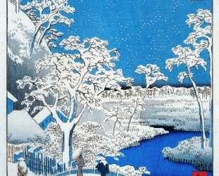 Drum Bridge and Setting Sun Hill, Meguro — Хиросиге