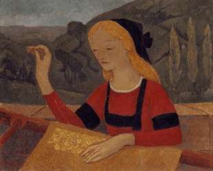Embroiderer in a Landscape of Chateauneuf — Поль Серюзье
