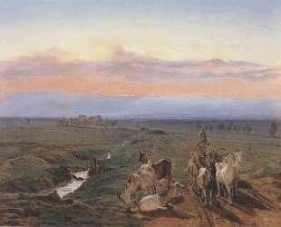 Evening landscape with herd of goats — Фердинанд Георг Вальдмюллер